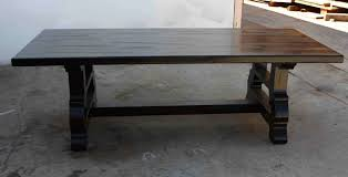 handmade spanish trestle dining table in reclaimed wood by mortise
