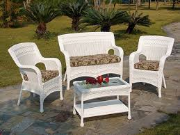 Cushions For Wicker Patio Furniture by Impressive White Wicker Patio Furniture With Ottoman And Printed