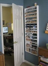 behind the door shallow shelving storage stamps crafts