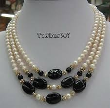 3 rows real white pearl black agate 18kgp crystal pendant necklace