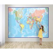 waypoint geographic giant world wall map mural blue wphd wp81001 giant world wall map mural blue