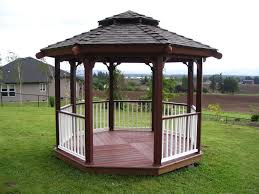 Patio Gazebo Ideas by Beautiful Modern Outdoor Hexagonal Gazebo Design With Brown Solid