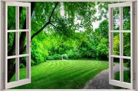 Secret Garden Wall by 3d Effect Window View Secret Garden Nature Sticker Wall Poster