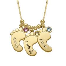 necklace baby images Multiple baby feet necklace in gold plating jpg