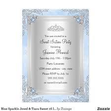 Sweet 16 Invitation Cards Blue Sparkle Jewel U0026 Tiara Sweet 16 Invitation Sweet 16