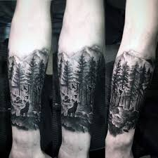 mens landscape forest inner forearm designs