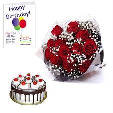 Buy Happy Birthday Red Roses Cake N Greetings Card Online Best