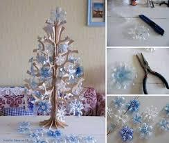 ideas diy snowflake tree ornaments from plastic bottles