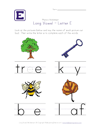 long vowel e worksheet kid crafts homeschooling pinterest