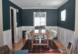 Brown Dining Blue Room Small Dining Room Decoration Using Peacock Blue Wall In Dining