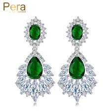 green drop earrings pera luxury silver color jewelry green chandelier cubic