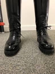 mens high motorcycle boots dehner motorcycle high shine patrol bal laced cop boots used 9 5 d