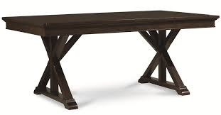 baker street dining table trestle table with x pedestals by legacy classic wolf and gardiner