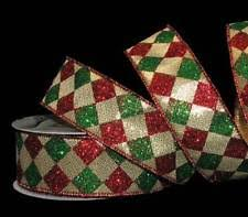 christmas wired ribbon harlequin diamond patterned ribbon glitter wired edge ribbons 30ft