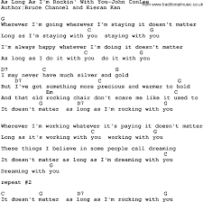 Country Song Rocking Chair Country Music As Long As I U0027m Rockin U0027 With You John Conlee Lyrics