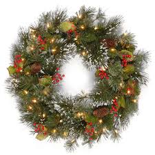 2ft pre lit wintry pine artificial wreath garden