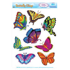 butterfly clings sheets 8 colourful butterfly stickers partyrama