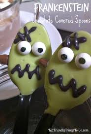 frankenstein chocolate covered spoons a halloween fun food