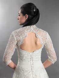 3 4 sleeve alencon lace bolero with keyhole back