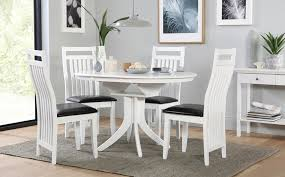 round extending dining room table and chairs buy the epsom white pedestal extending dining table set with within