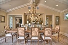 Beachy Dining Room Sets - exposed beams and crown moulding dining room beach style with