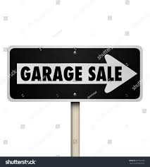 garage sale road sign pointing way stock illustration 301557764