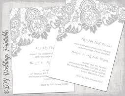 Silver Wedding Invitations Lace Wedding Invitation Template Silver Gray On White