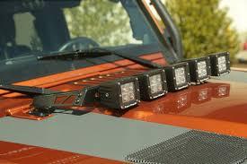 jeep accessories lights rugged ridge 11232 05 hood light bar kit 5 cube led lights