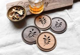 wooden drink coasters rustic drink coaster set laser cut
