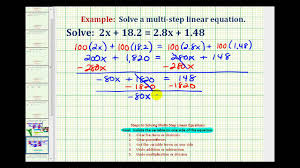 ex solve a linear equation with decimals and variables on both sides