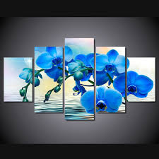 blue orchid flower 5 pcs set framed hd printed blue orchid flower picture wall