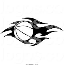royalty free clip art vector black and white flaming basketball