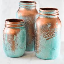 Copper Kitchen Canisters Mason Jars With A Blue Patina Suburble