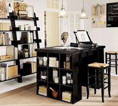 Pottery Barn Wall Shelves Eclectic Home Office With Hardwood Floors U0026 Transom Window