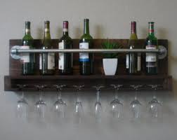 rustic 10 bottle wall mount wine rack with 8 glass slot holder