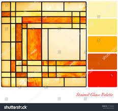 Yellow Swatches Stained Glass Panel Warm Tones Complimentary Stock Illustration