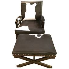 black leather club chair and ottoman black and white leather cowhide club chair and ottoman for sale
