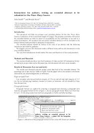 writing an abstract for a paper instructions to authors for writing an extended abstract to be
