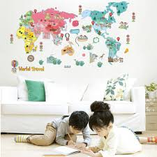home decor online sales wall sticker cute colorful world travel map sticker educational