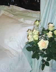 Flower Duet - flower duet embroidered forget me nots on bedlinen bedlinen