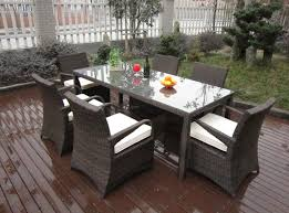 outdoor appealing wicker patio furniture set with white cushions