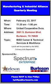 ind alliance manufacturing industrial alliance quarterly meeting burleson