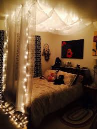 bedroom twinkle lights headboard varnished wooden bed frame