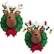 bucilla felt applique ornament kit 86744 jingle and set of 2