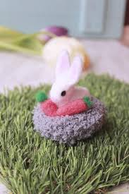 Easter Knitted Decorations by Needle Felted Easter Flop Eared Bunny With Knitted Basket White