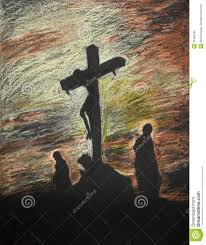 jesus crucified on golgotha pastel technique stock photos image