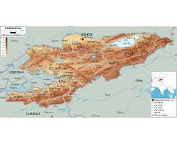 Physical Map Of Southwest Asia by Maps Of Kyrgyzstan Detailed Map Of Kyrgyzstan In English