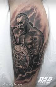 black and grey style ragnar lodbrok holding a real