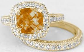 citrine engagement rings cushion citrine engagement ring and matching diamond wedding band