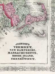 New Hampshire State Map by Vermont New Hampshire Massachusetts Connecticut State Map 1864